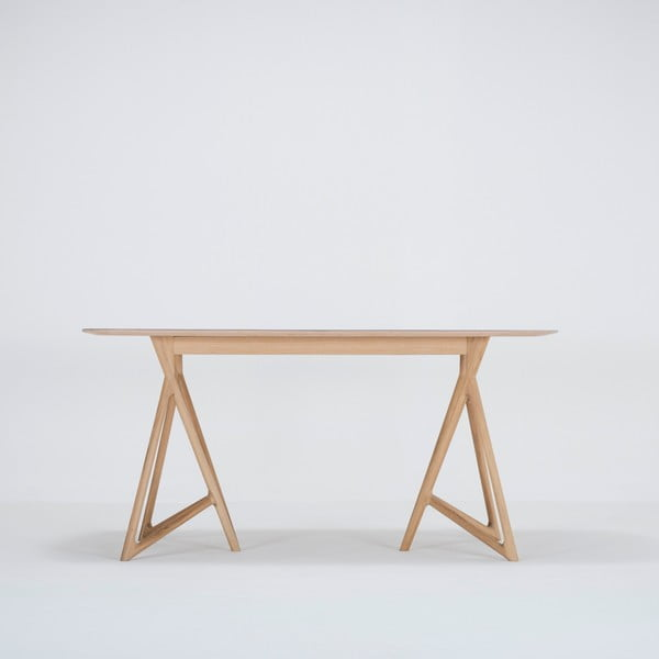 Jídelní stůl z masivního dubového dřeva se zelenou deskou Gazzda Koza, 160x90cm