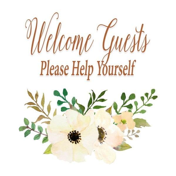 Plakát v dřevěném rámu Welcome guest, 38x28 cm