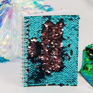 Tyrkysový zápisník s flitry Now or Never Mermaid Tales, 100 stránek