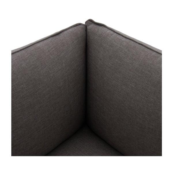 Tmavě šedá trojmístná pohovka s podnožkou Vivonita Cube