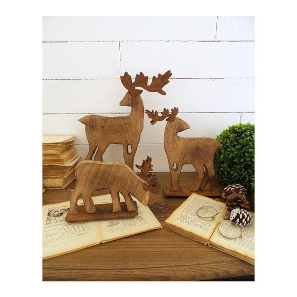 Deers Malo 3 részes fából készült dekorációs rénszarvas szett - Orchidea Milano