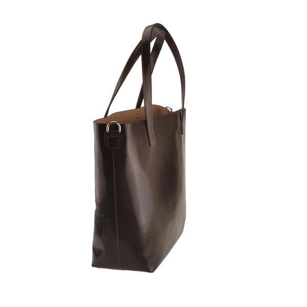 Tmavě hnědá kožená kabelka Florence Tangor