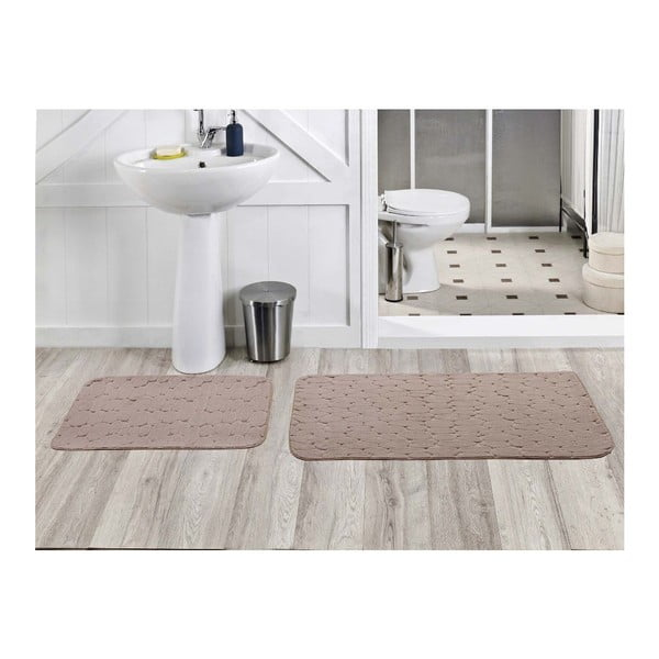 Sada 2 koupelnových koberečků Milas Vizon, 50x60 cm + 60x100 cm