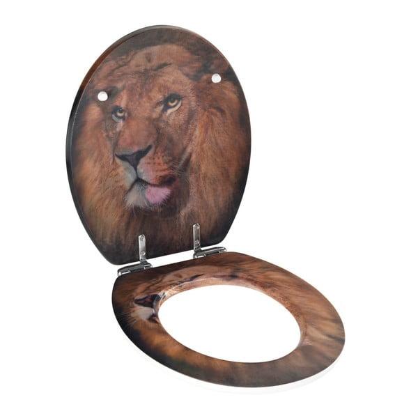 WC sedátko s 3D obrázkem a snadným zavíráním Wenko Lion, 44,5 x 38 cm