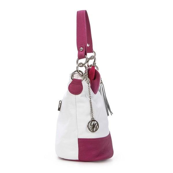 Kožená kabelka Luigi, bílá/fuchsia