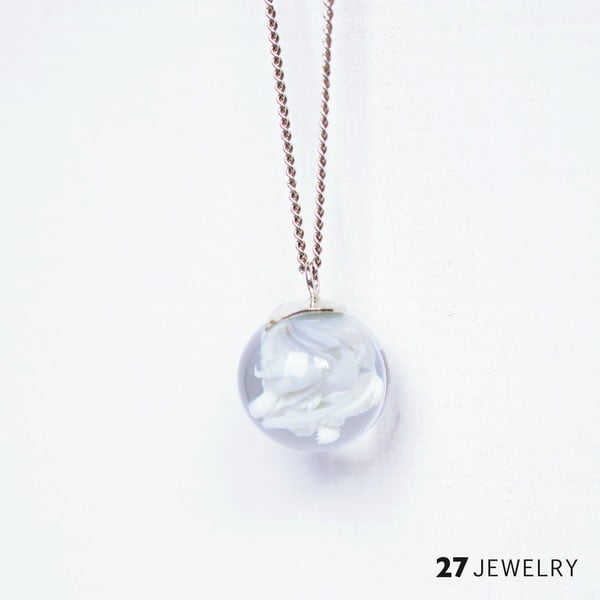 Bílý náhrdelník ze skla Enamor