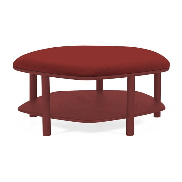 Červený taburet z jasanového dřeva HARTÔ Abel, ⌀84cm
