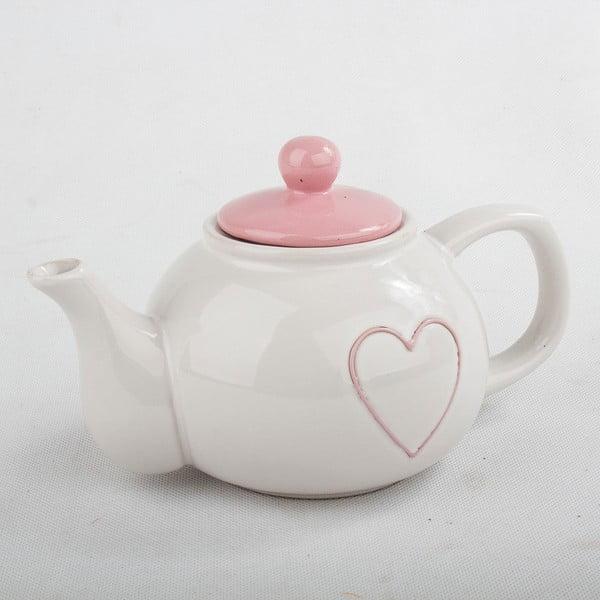 Ceainic din ceramică cu capac roz Dakls, 1l