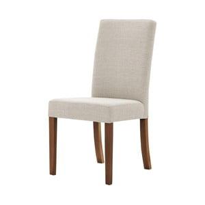 Krémová židle s tmavě hnědými nohami z bukového dřeva Ted Lapidus Maison Tonka