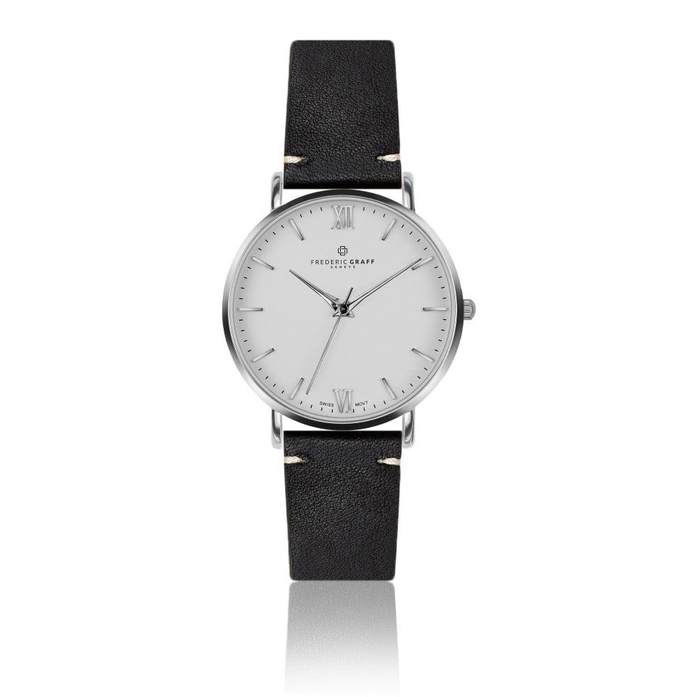 Pánské hodinky s černým páskem z pravé kůže Frederic Graff Silver Dent Blanche Black