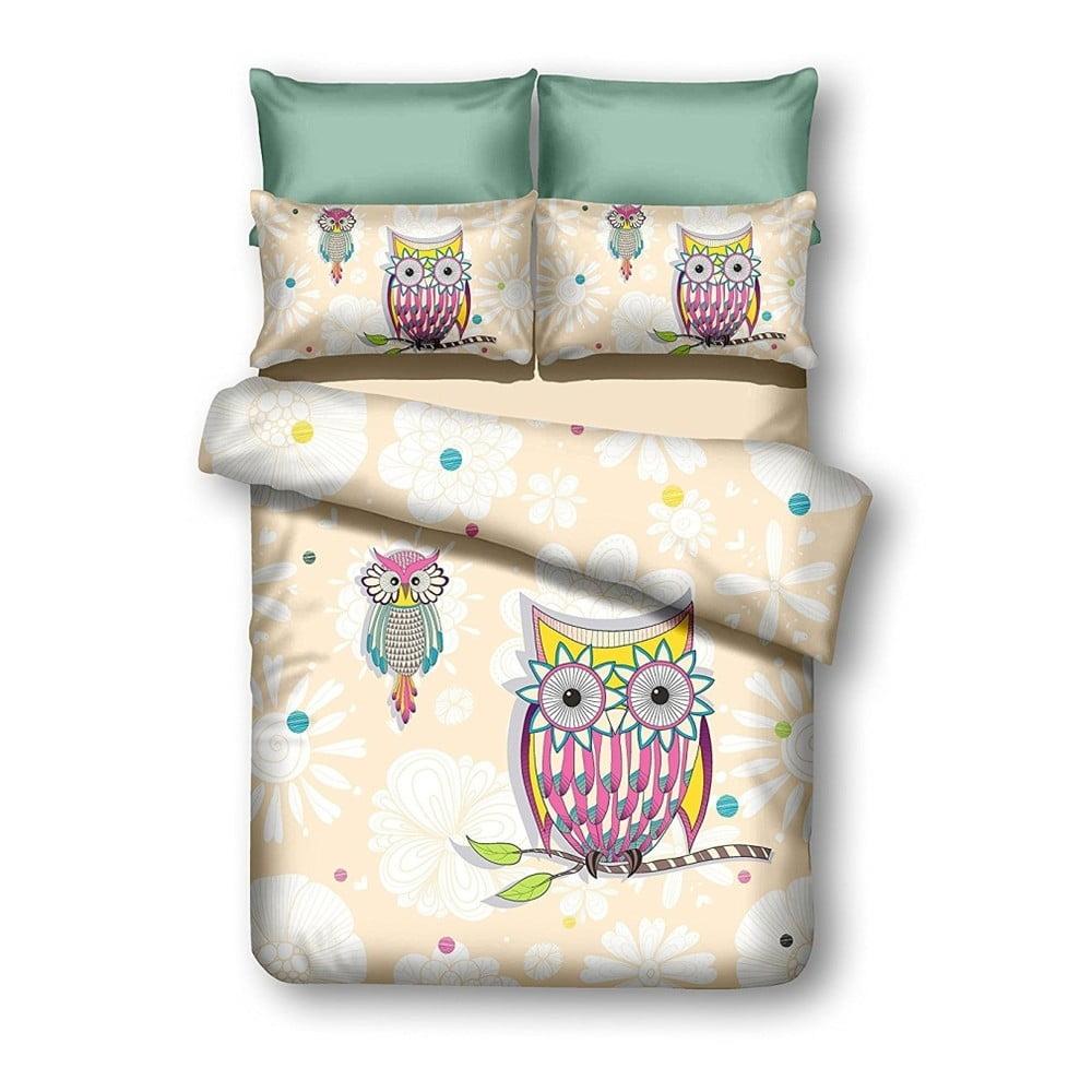 Oboustranné povlečení z mikrovlákna DecoKing Owls Summerstory, 135 x 200 cm