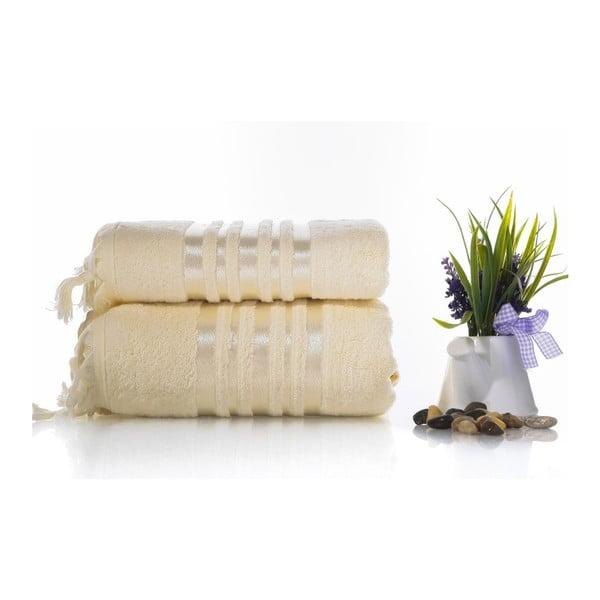 Set krémové bavlněné osušky a ručníku Ladik Eleanor