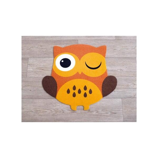 Koberec Owls - oranžová sova, 66x66 cm