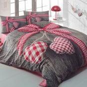 Lenjerie de pat din bumbac cu cearșaf Lovebox Red, 200x220cm
