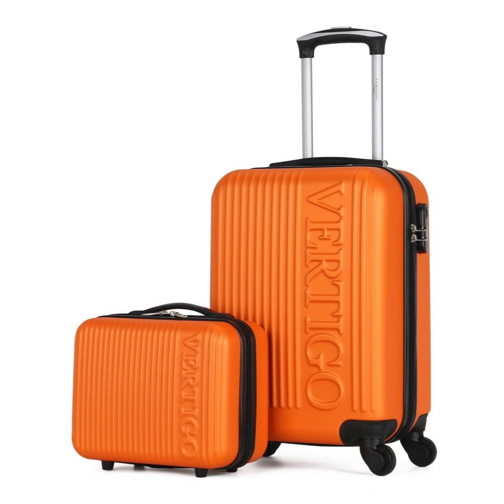 Sada 2 oranžových cestovních kufrů na kolečkách VERTIGO Valises Cabine & Vanity Case
