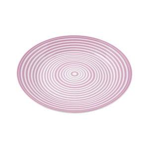 Porcelánový talíř Lines, růžový 4 ks