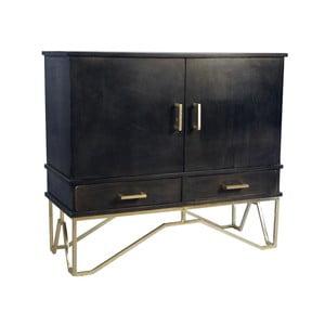 Černá komoda z mangového dřeva s detaily ve zlaté barvě Miloo Home Savoy
