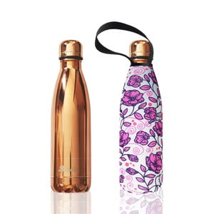 Sticlă termos cu husă BBBYO Roses, 500 ml, auriu-roz