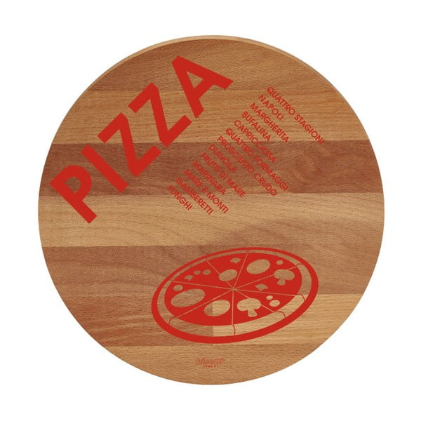 Pizza bükkfa tálalódeszka/vágódeszka, ø 30cm - Bisetti