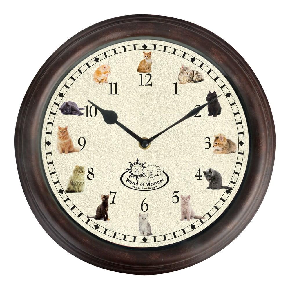 Nástěnné kočičí hodiny Esschert Design, ⌀ 30 cm