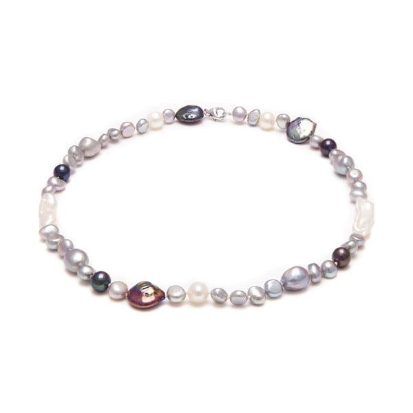 Náhrdelník z říčních perel GemSeller Ruscus, šedé perly