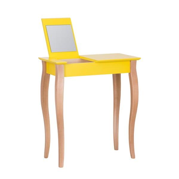 Dressing Table sárga fésülködőasztal tükörrel, 65 cm hosszú - Ragaba