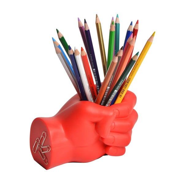 Červený stojan na tužky ve tvaru pěsti Le Studio