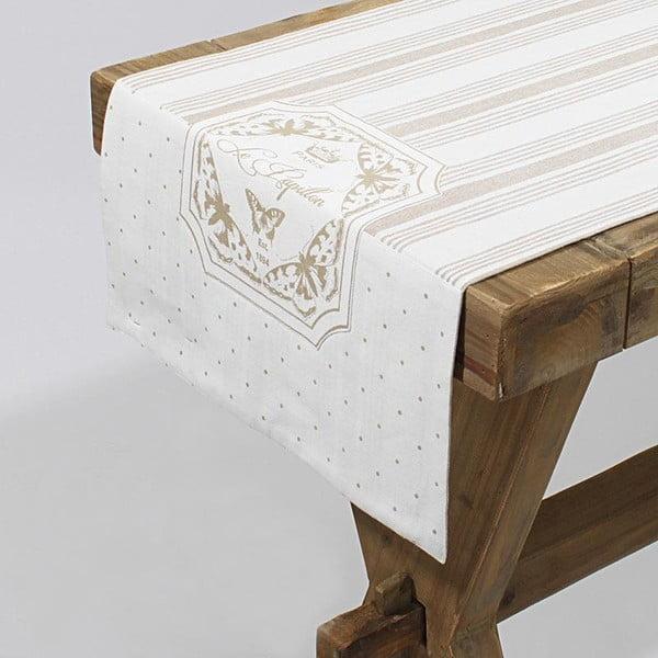 Bavlněný běhoun Beige Stripes, 40x140 cm