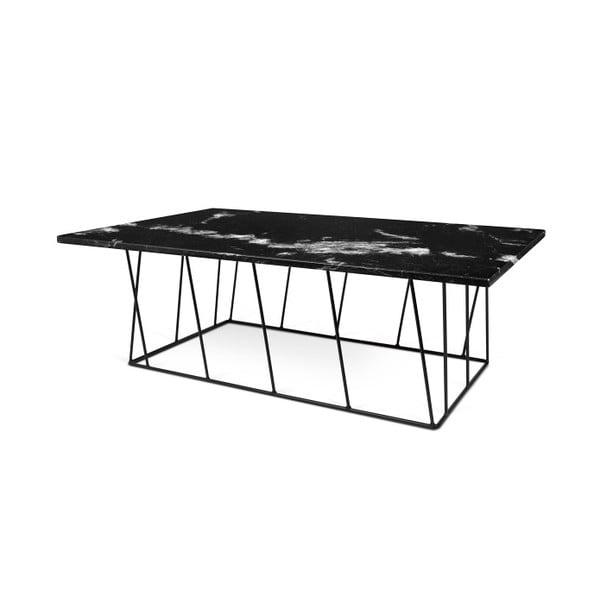 Černý mramorový konferenční stolek s černými nohami TemaHome Helix, 120 cm