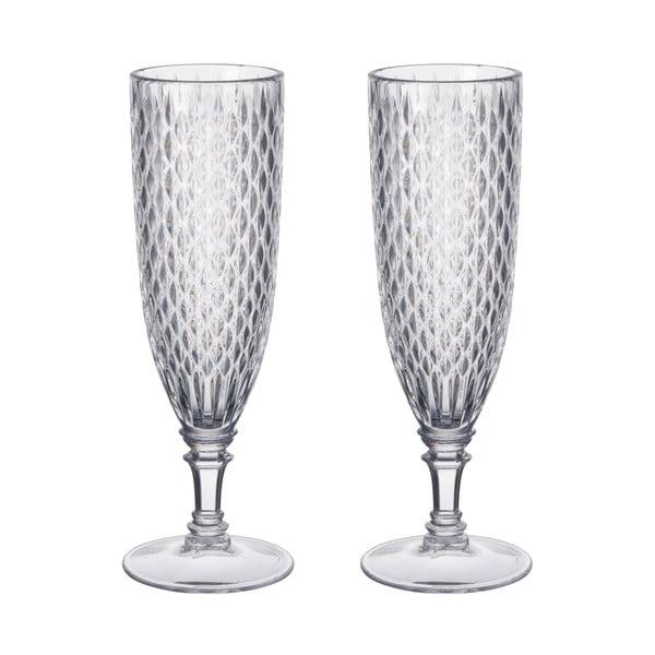 Set čirých sklenic na šampaňské, 2 ks