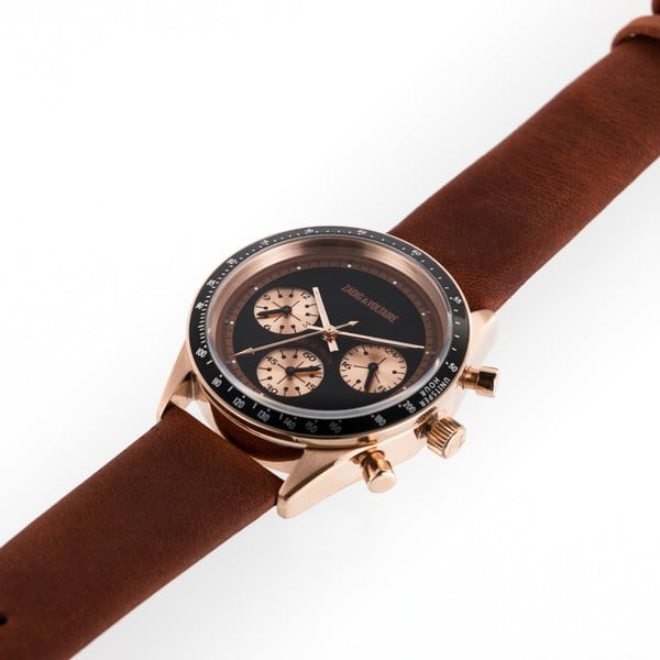 Dámské hodinky s hnědým koženým páskem Zadig & Voltaire Virtuoso