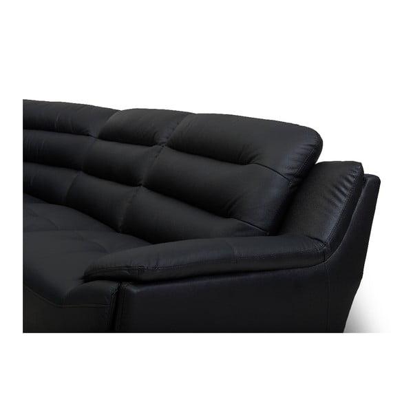 Canapea pe colț, din piele, Furnhouse Louis, negru