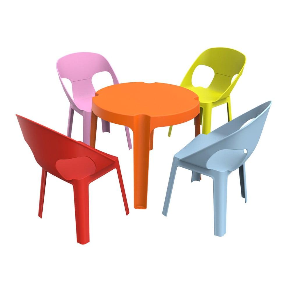 Scaune Din Plastic Pentru Copii.Set Grădină Pentru Copii 1 Masă Portocalie și 4 Scaune Resol Julieta Bonami