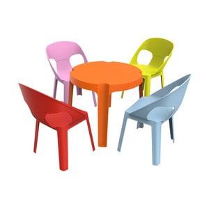Dětský zahradní set 1 oranžového stolu a 4 židliček Resol Julieta