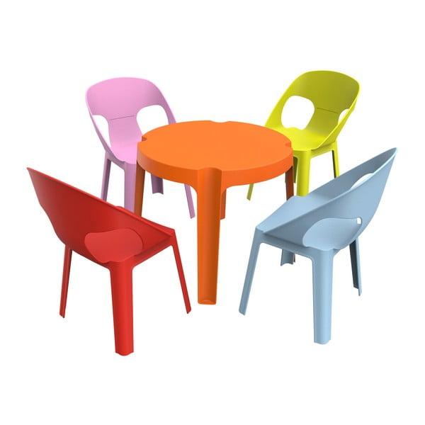 Julieta gyerek kerti bútor garnitúra, 1 narancssárga asztal és 4 szék - Resol