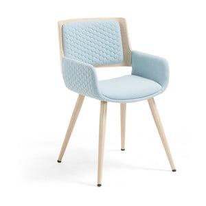 Scaun cu picioare din lemn și cotiere La Forma Andre, albastru