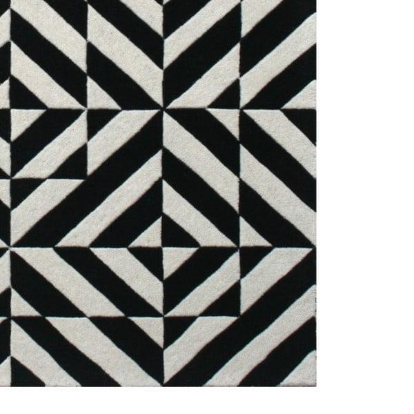 Vlněný koberec Espejo Black White, 170x240 cm