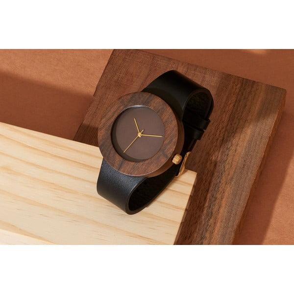 Dřevěné hodinky Analog Watch Co. Leather & Blackwood