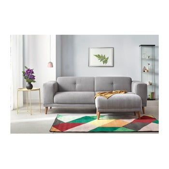 Canapea cu 3 locuri și suport pentru picioare Bobochic Paris Luna, gri
