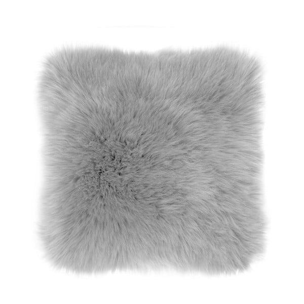 Šedý polštář Tiseco Home Studio Sheepskin, 45 x 45 cm