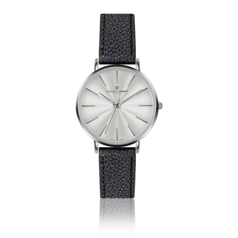 Dámské hodinky s černým páskem z pravé kůže Frederic Graff Silver Monte Rosa Lychee Black Leather