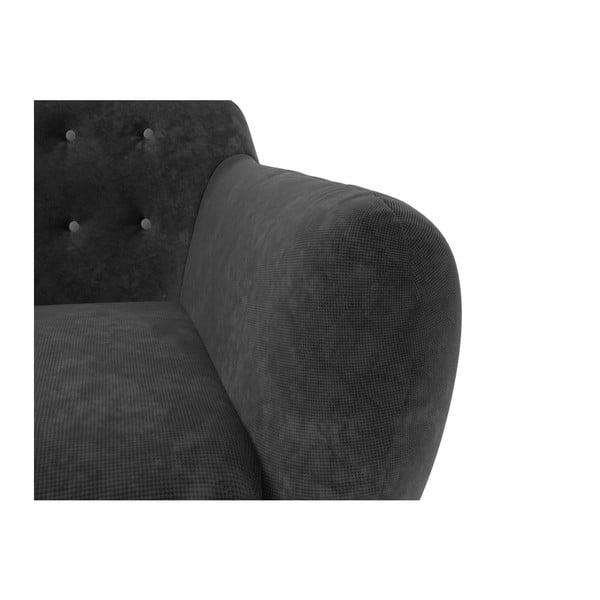 Sedačka Indigo pro tři, tmavě šedá se světle šedými knoflíky
