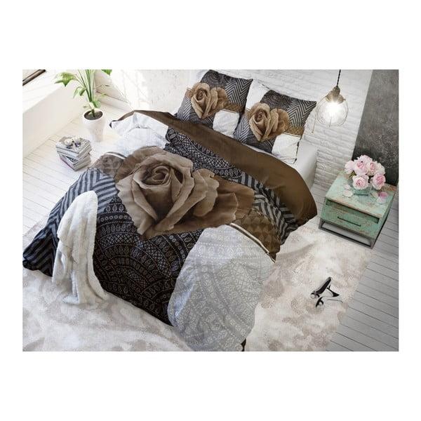 Lenjerie de pat din bumbac Dreamhouse Garden Rose, 140 x 200 cm, gri - maro