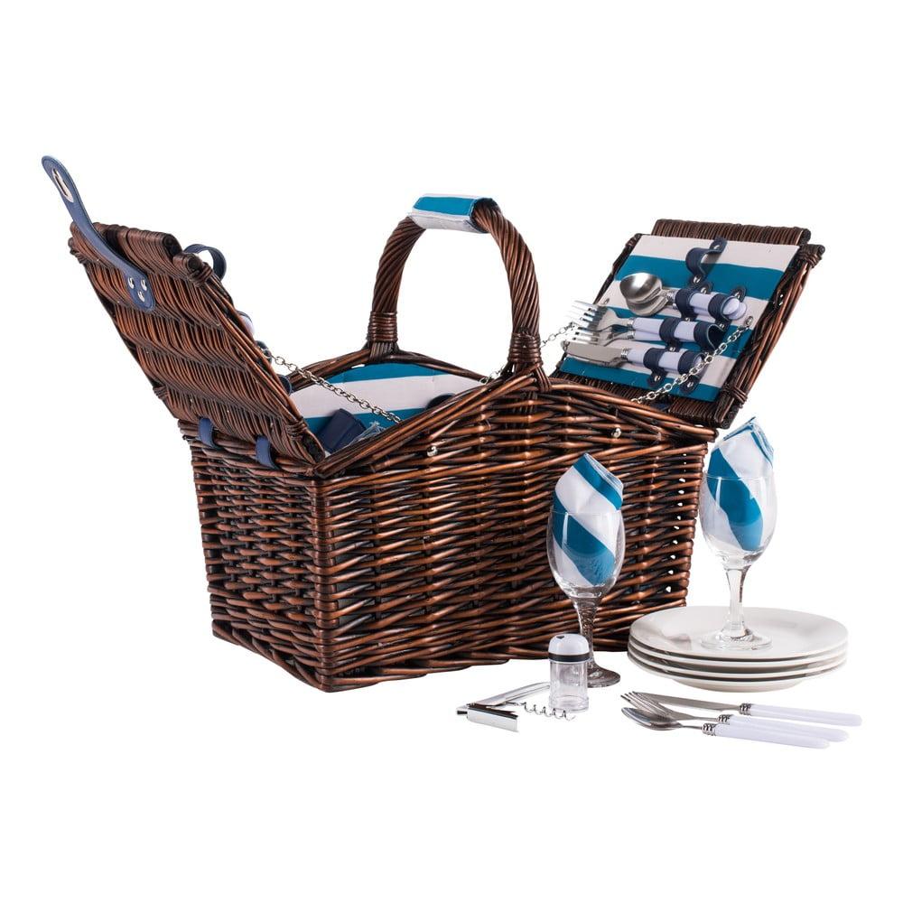 Pruhovaný proutěný piknikový koš s vybavením pro 4 osoby Navigate Basket