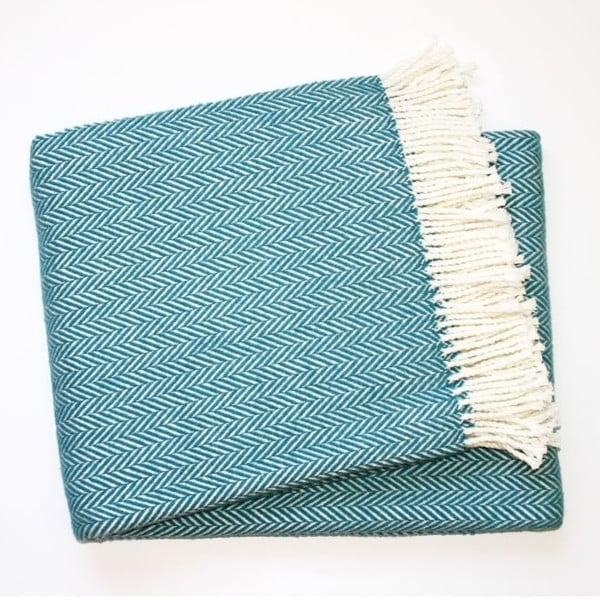 Modrý pléd s podílem bavlny Euromant Skyline, 140x180cm