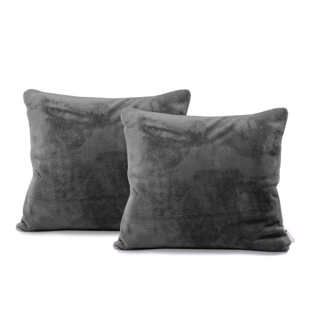 Produktové foto Sada 2 tmavě šedých povlaků na polštáře DecoKing Mic, 45 x 45 cm