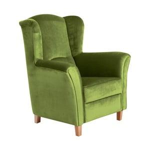 Zelené křeslo ušák Max Winzer Agnetha Suede