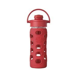 Sticlă de voiaj, din sticlă cu protecție din silicon, Lifefactory Flip Strawberry, 350 ml