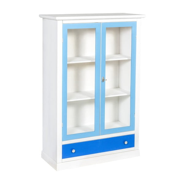 Niebiesko-biała witryna Evergreen House Pacific