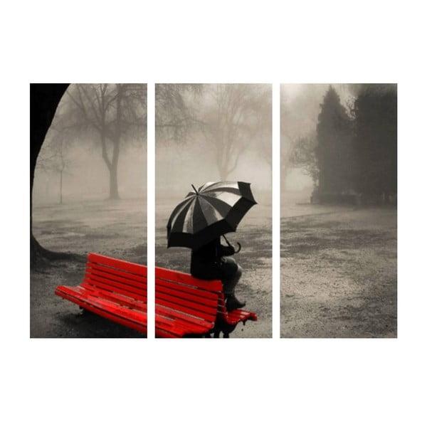 3dílný obraz Samota v dešti